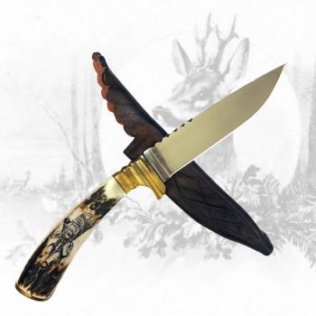 Jagdmesser mit Rehkopfgravur