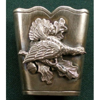 silver cover for black cock feather