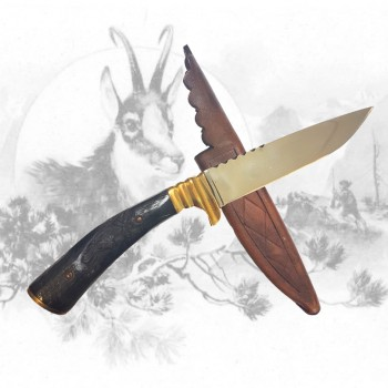 Jagdmesser mit Gamshauptschnitzerei