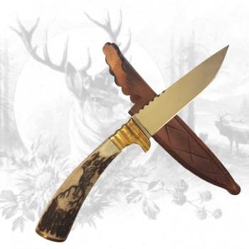 Jagdmesser mit Hirschhauptschnitzerei