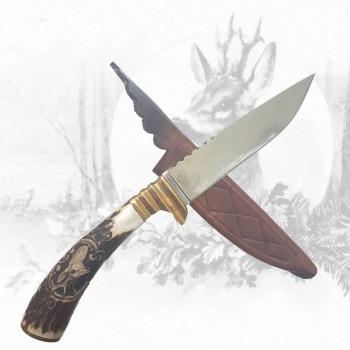 Jagdmesser mit Rehbockhauptschnitzerei