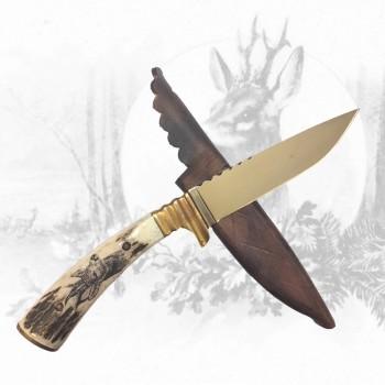 Jagdmesser mit Rehbockhauptgravur