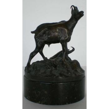 Antike Bronzeskulptur Gemsen R.A. JAUMANN