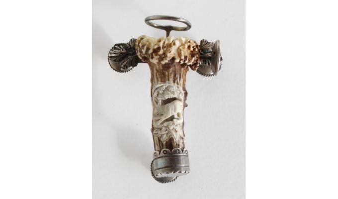 Barthülse aus Rehkrickerl mit Silbermontierung