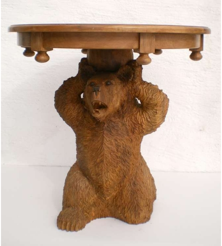 Hand carved bear table t