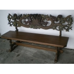 carved hunting bench